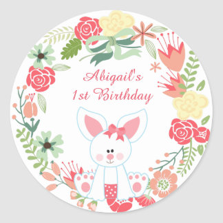 Personalized Bunny and Flower Wreath 1st Birthday Classic Round Sticker