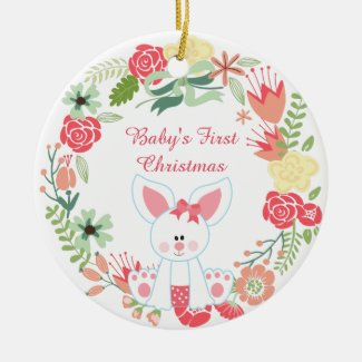 Personalized Bunny and Wreath Baby's 1st Christmas Ceramic Ornament