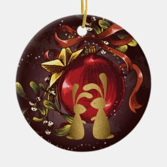 Personalized Bunny Couple n' Mistletoe Christmas Double-Sided Ceramic Round Christmas Ornament