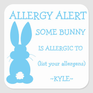 Personalized Bunny Food Allergy Alert Easter Boys Square Sticker