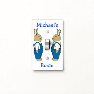 Personalized Bunny Rabbit in Blue Jean Overalls Light Switch Cover