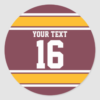 Personalized Burgundy and Gold Sport Stripes Classic Round Sticker