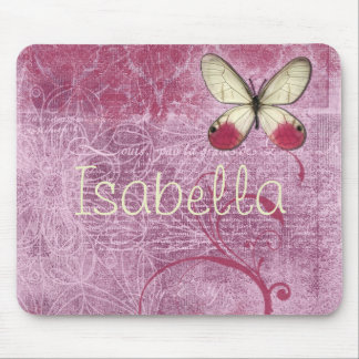 Personalized Burgundy Butterfly Mouse Pad