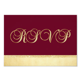 Personalized Burgundy Fall Gold RSVP Wedding Card