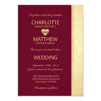 Personalized Burgundy Gold Fall Wedding Invitation