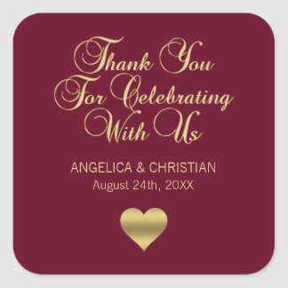 Personalized Burgundy Gold Thank You Wedding Square Sticker