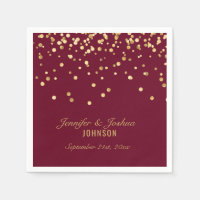 Personalized BURGUNDY Red Gold Confetti Wedding Napkin
