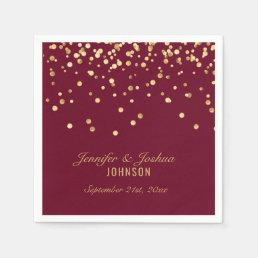 Personalized BURGUNDY Red Gold Confetti Wedding Napkin