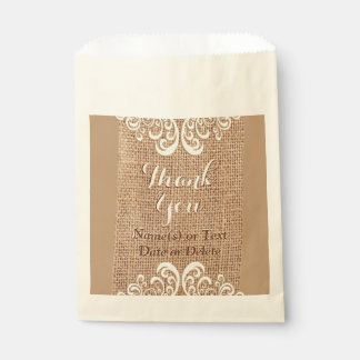 Personalized Burlap and Lace Favor Bags, Your Text Favor Bag
