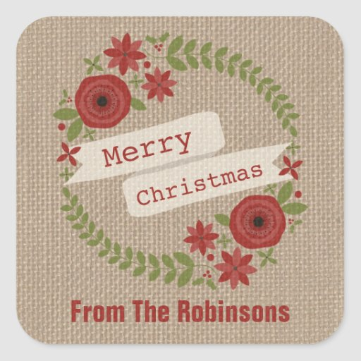 Personalized Burlap Inspired Wreath Christmas Square Sticker
