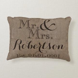 Personalized Burlap-Look Rustic Wedding Keepsake Accent Pillow