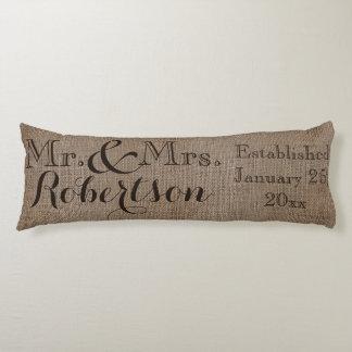 Personalized Burlap-Look Rustic Wedding Keepsake Body Pillow