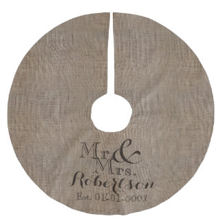 Personalized Burlap-Look Rustic Wedding Keepsake Brushed Polyester Tree Skirt