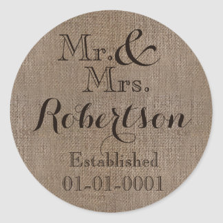Personalized Burlap-Look Rustic Wedding Keepsake Classic Round Sticker