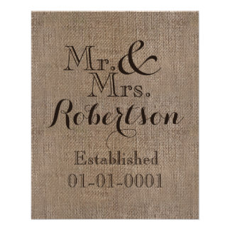 Personalized Burlap-Look Rustic Wedding Keepsake Flyer