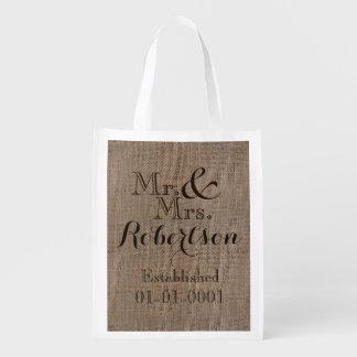 Personalized Burlap-Look Rustic Wedding Keepsake Grocery Bag