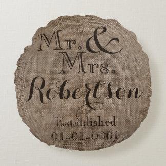 Personalized Burlap-Look Rustic Wedding Keepsake Round Pillow