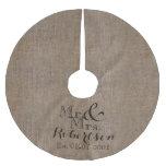 Personalized Burlap-Look Rustic Wedding Keepsake Brushed Polyester Tree Skirt