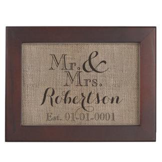 Personalized Burlap-Look Rustic Wedding Keepsake Memory Box