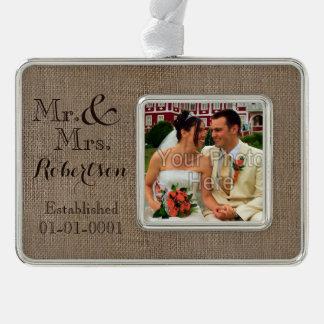 Personalized Burlap-Look Rustic Wedding Keepsake Silver Plated Framed Ornament