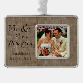 Personalized Burlap-Look Rustic Wedding Keepsake Silver Plated Framed Ornament