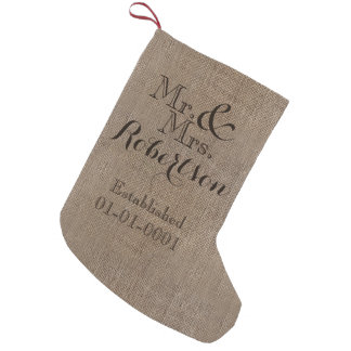 Personalized Burlap-Look Rustic Wedding Keepsake Small Christmas Stocking