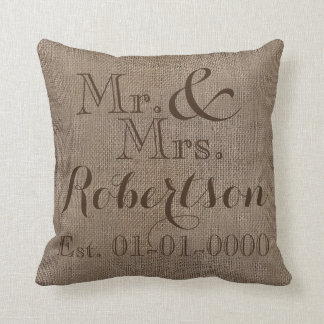 Personalized Burlap-Look Rustic Wedding Keepsake Throw Pillow