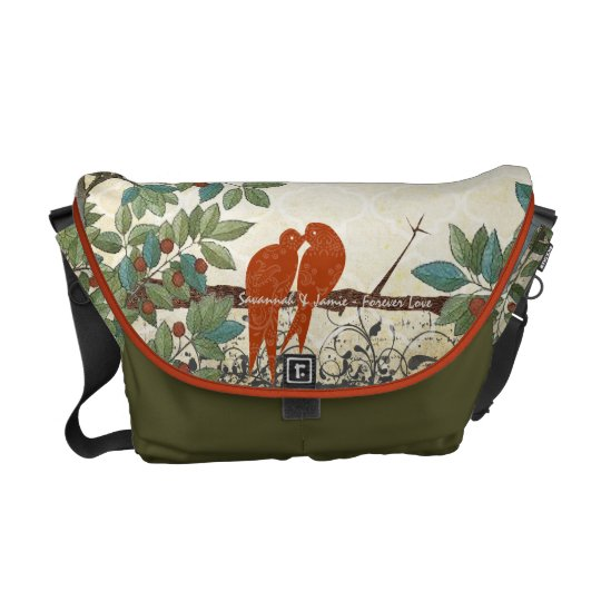 Personalized Burnt Coral Love Bird Messenger Bags