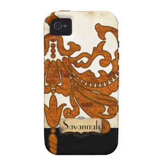 Personalized Burnt Orange Antique Scroll Work Case-mate Iphone 4 Cover