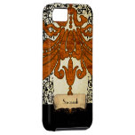 Personalized Burnt Orange Antique Scroll Work iPhone 5 Cover