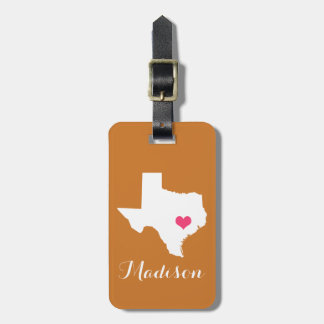 Personalized Burnt Orange & Pink Texas Home State Bag Tag