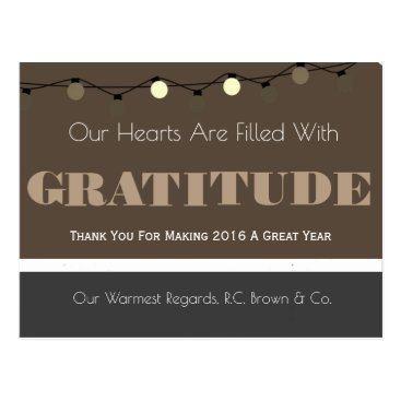 Professional Business Personalized Business Holiday Gratitude Tan Postcard