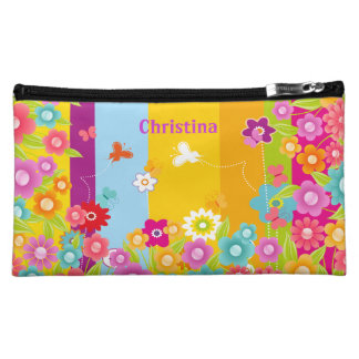 personalized Butterflies and flowers cosmetics bag Makeup Bags