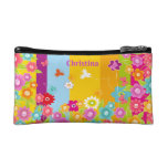 personalized Butterflies and flowers cosmetics bag Cosmetic Bag
