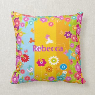 personalized Butterflies and flowers Throw Pillows