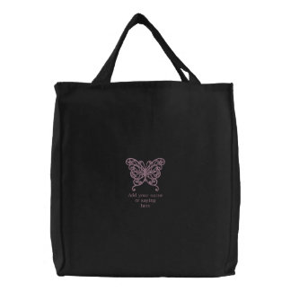 Personalized butterfly embroidered canvas tote bag