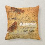 Personalized Butterfly Ephemera Urn & Birdcage Throw Pillow