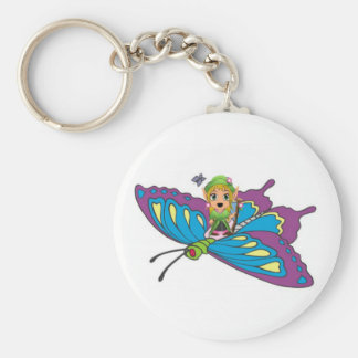 Personalized Butterfly Girl Basic Round Button Keychain