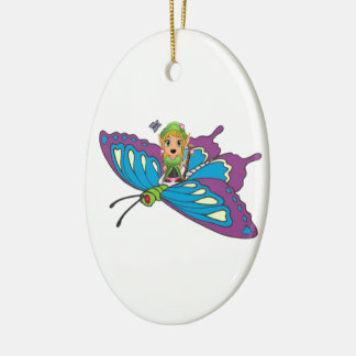 Personalized Butterfly Girl Ceramic Ornament