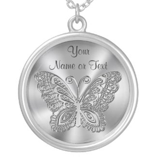 Personalized Butterfly Necklace Silver for Her Add Your Special Message