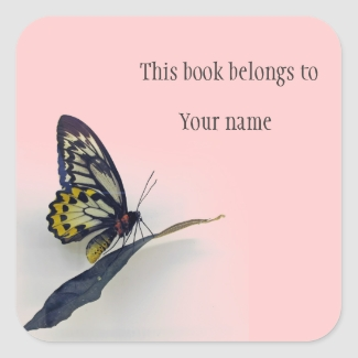 Personalized Butterfly Sticker Bookplate