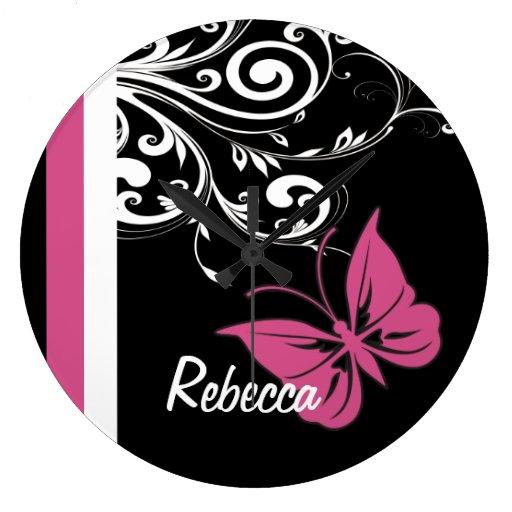 Personalized Butterfly Swirls Cranberry Pink Wall Clock
