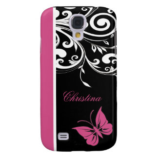 Personalized Butterfly Swirls Cranberry Pink Galaxy S4 Cover