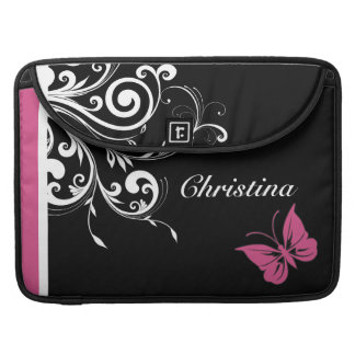 Personalized Butterfly Swirls Cranberry Pink MacBook Pro Sleeves