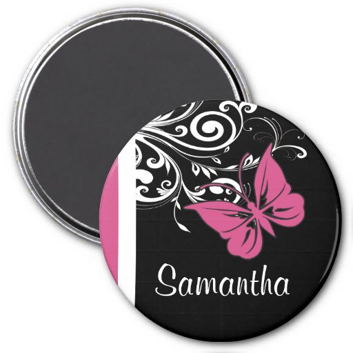 Personalized Butterfly Swirls Cranberry Pink 3 Inch Round Magnet