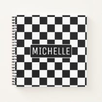 Personalized BW Checkered Notebook