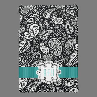 Personalized BW Paisley Pattern with Teal iPad Mini Cover