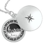 Personalized bw piano keys and music notes locket
