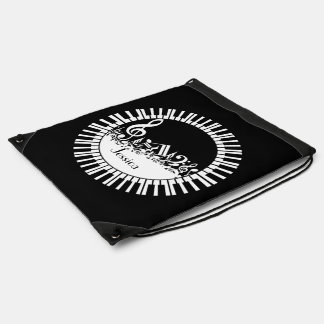 Personalized bw piano keys and music notes drawstring backpack