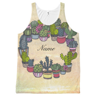 Personalized Cactus Wreath All-Over-Print Tank Top